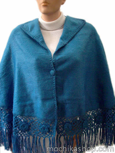 Peruvian Cloak Cape Alpaca Camargo Wool Roses Medium Size