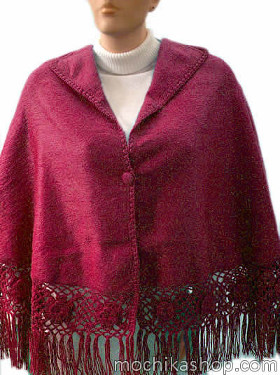 Nice Peruvian Cloak Cape Alpaca Camargo Wool Roses Medium Size