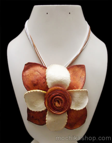 Big Flower Multicolor Necklaces Orange Peel