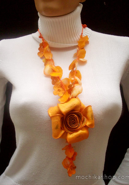Big Roses Whole Color Necklaces Orange Peel