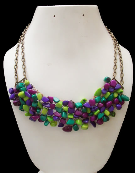 Necklace Handmade Assorted Color Tagua Gravel Cascajo Bronze