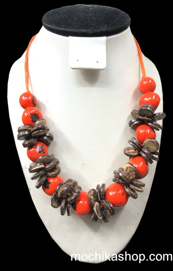 06 Wholesale Peruvian Necklaces Handmade Coconut and Bombona Seeds