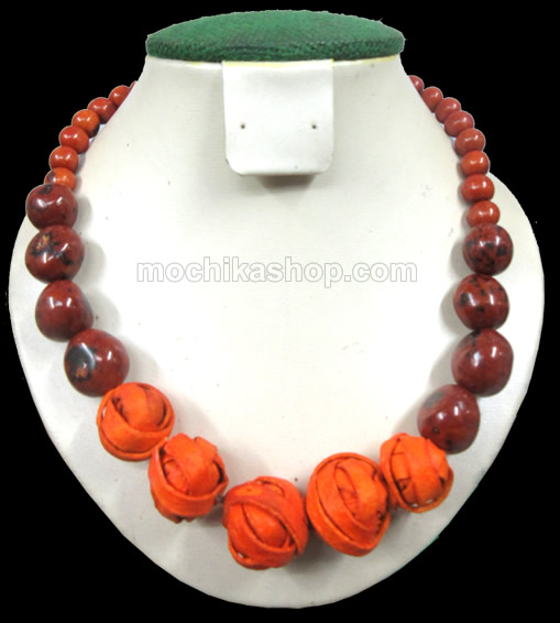 12 Peruvian Bombona Seeds and Orange Peel Necklaces , Inca Design