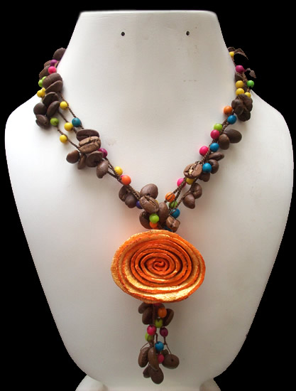 06 Wholesale Necklaces Coffe Seed Beads and Orange Peel Rosette