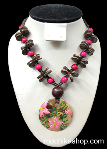 12 Peruvian Necklaces Handmade Coconut Type Button and Acai Seeds