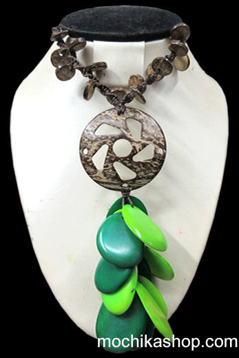 12 Pretty Peruvian Necklaces handcrafted Coconut and Tagua Flat Seeds