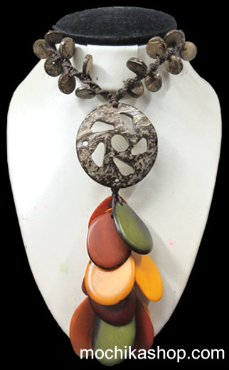 06 Wholesale Peruvian Necklaces handmade Coconut and Tagua Flat Seeds
