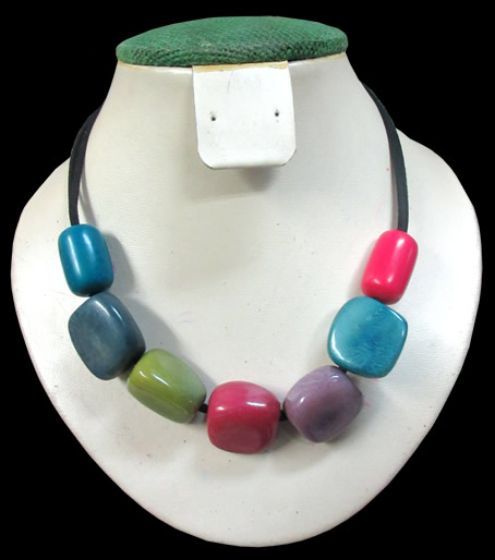 06 Wholesale Peruvian Tagua Necklaces Mixed Colors, Strip Leathe