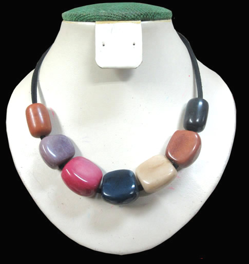 12 Peruvian Wholesale Tagua Necklaces Mixed Colors, Strip Leathe