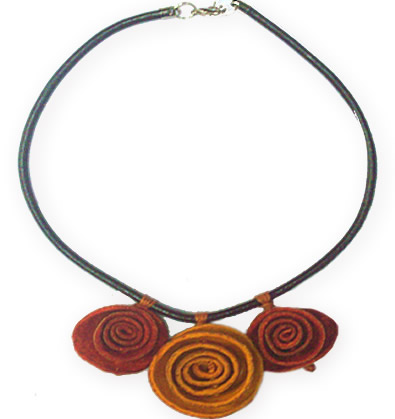 06 Orange Peel Necklaces Three Rosettes Design and Leather Cord