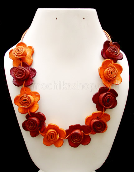 08 Pretty Orange Peel Necklaces Chain Flowers Model Mixed Colors