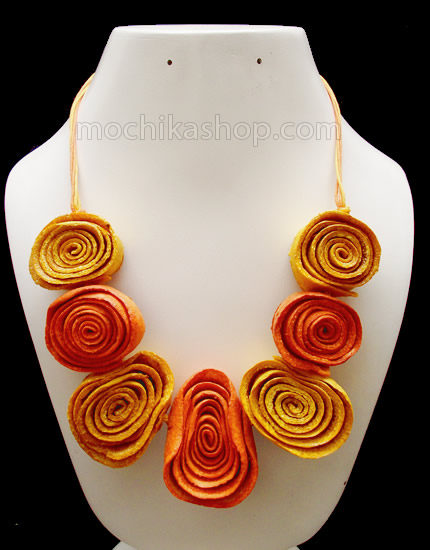Rosettes Model Necklaces Orange Peel