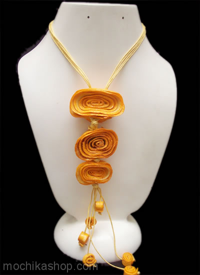 06 Orange Peel Necklaces Three Rosettes Design Handmade Assorted