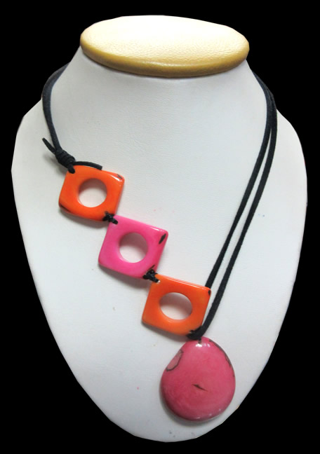 Square Donuts Peruvian Tagua Necklaces Leather Cord