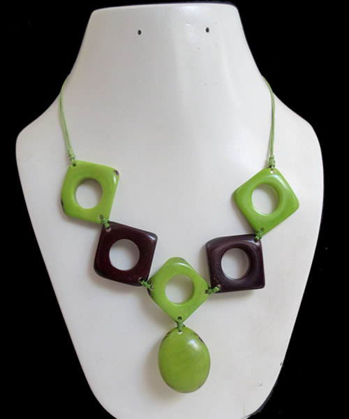 Five Square Donuts Beads Peruvian Tagua Necklaces