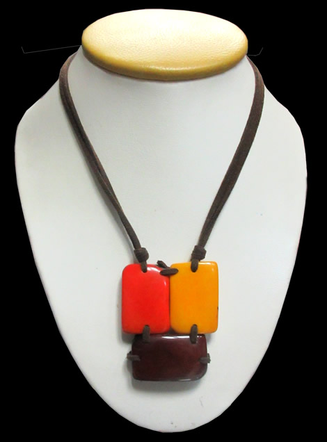 Leather Square Flat Seeds Peruvian Tagua Necklaces