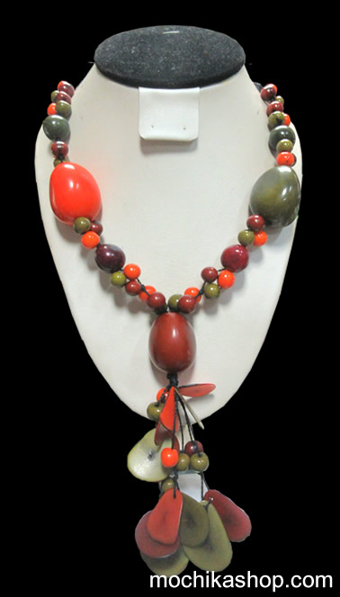 12 Wholesale Pretty Classic Necklaces Handcrafted Tagua Beads and Acai Seeds - Inca Design