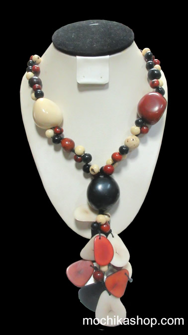 24 Wholesale Classic Necklaces Handmade Tagua Beads and Acai Seeds - Tribal Design