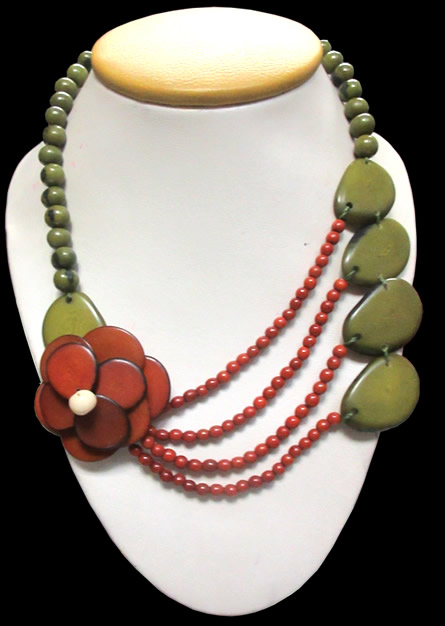 media pendant flj jewelry vegetable bronze grey organic tree life necklace tagua floral of eco friendly charm