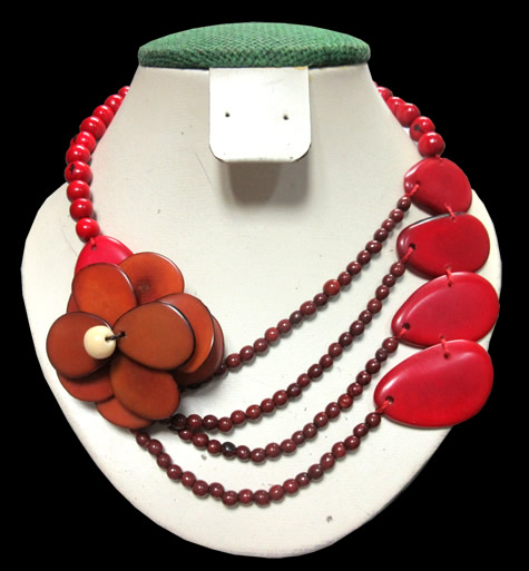 06 Peruvian Necklaces Handmade Tagua Mixed Seed Beads