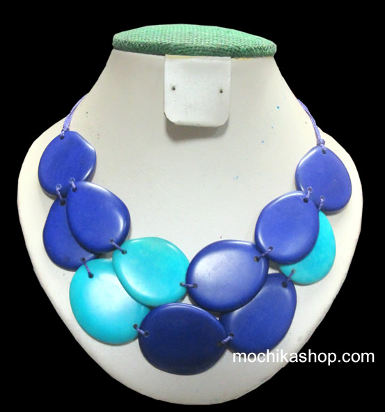 12 Pretty Wholesale Necklaces Handcrafted Tagua Flat Seeds - Tribal Design