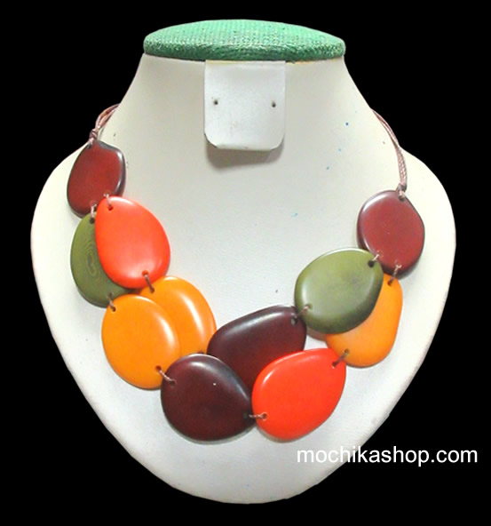 06 Beautiful Wholesale Chokers Handmade Tagua Flat Seed - Inca Design