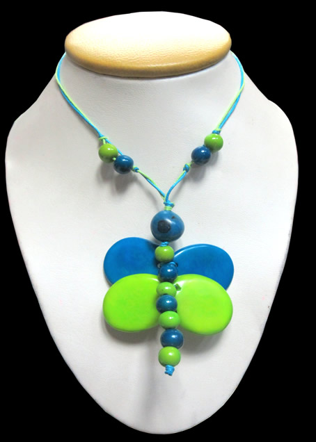 Lot 12 Necklaces Handmade Tagua Seed Beads Dragonfly Inca