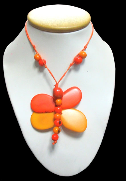 6 Necklaces Handmade Tagua Seed Beads Dragonfly Inca Design