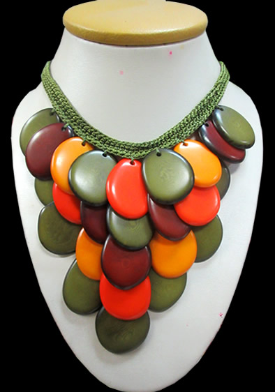 Tagua Flat Seed Necklaces Woven Design