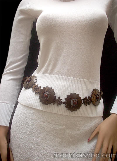 08 Peruvian Belts Handmade Coconut Natural Color Assorted Design