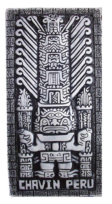 Pretty Peru Wall Hanging Image CHAVIN CASTLE handmade on Plaster