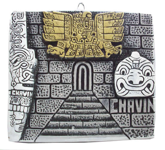 Peruvian Wall Hanging Image  CHAVIN CASTLE  handmade on Plaster