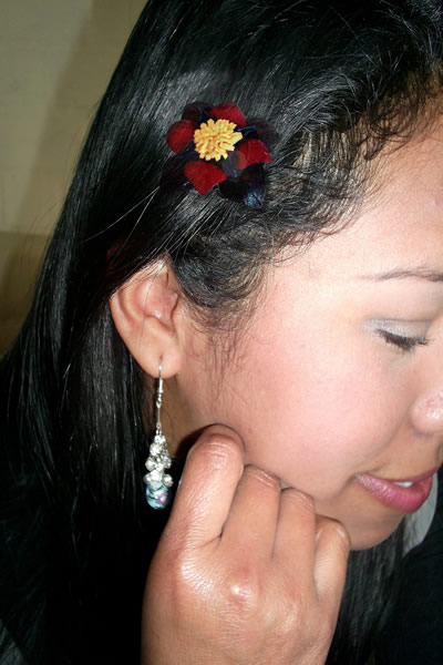 06 Beautiful Leather Hair Clips Barrettes Small Flowers Design