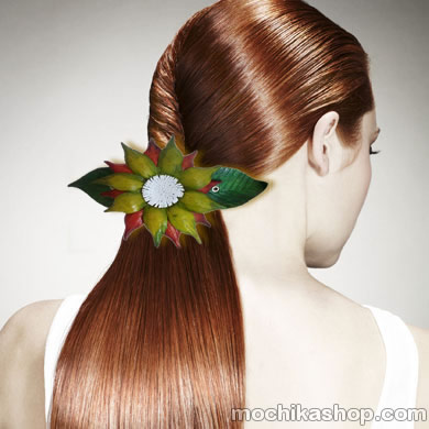 06 Beautiful Leather Hair Clips Barrettes Big Flowers Design