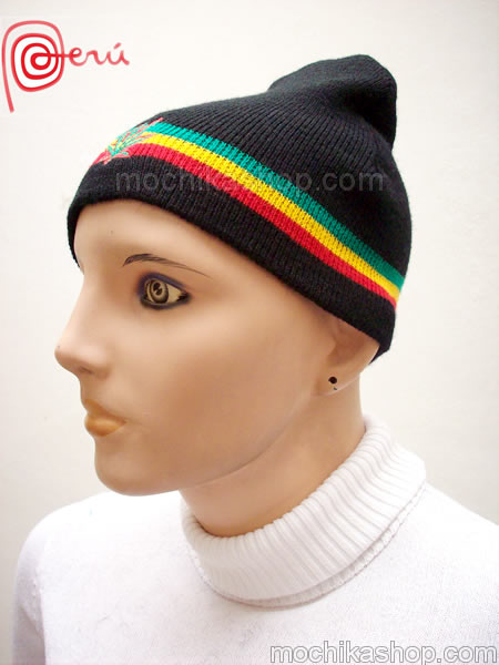 06 Pretty Rasta Reggae Knitted Black Beanie Hat