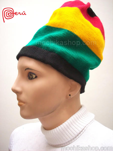 06 Beautiful Rasta Knitted Beanie Boho Hat Handmade Crochet