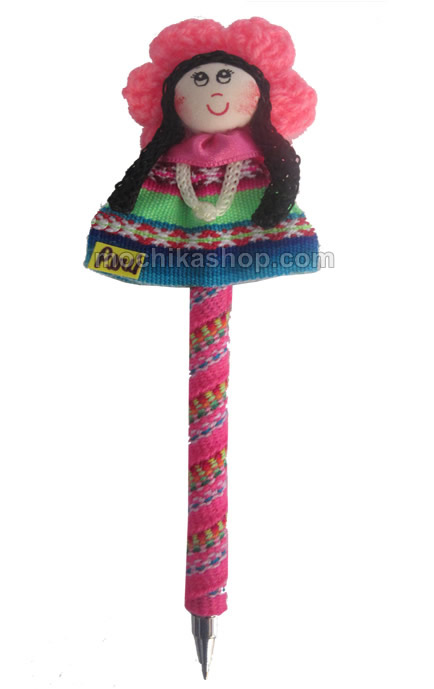 12 Peru Craft Pencils Lined with Cusco Blanket Fabric Doll Image