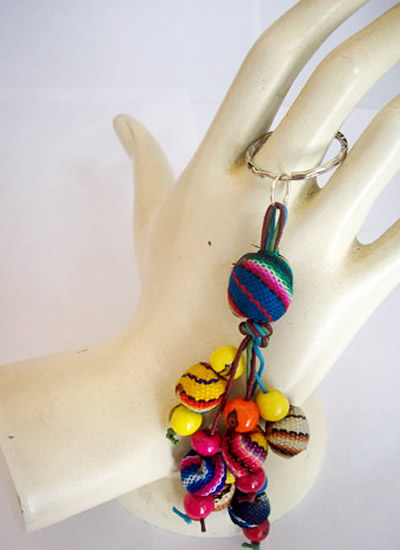 12 Inca Peruvian Key Rings Chains Handmade Cusco Blanket Beads