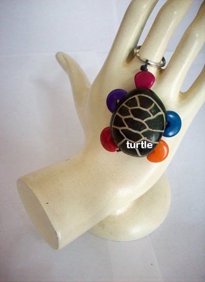 Assorted Images Tagua Beads Key Rings