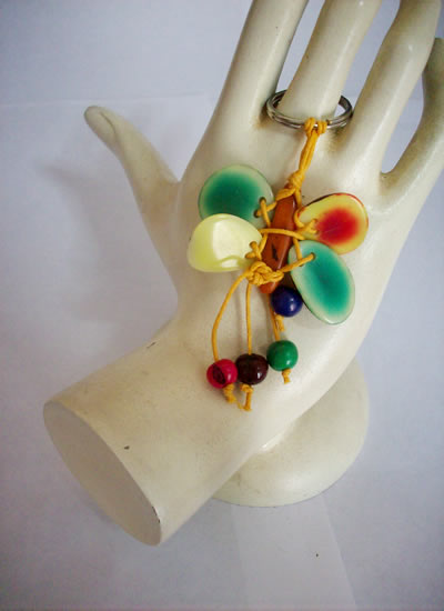 24 Key Rings Chains Handmade Tagua Nut Beads Assorted Images