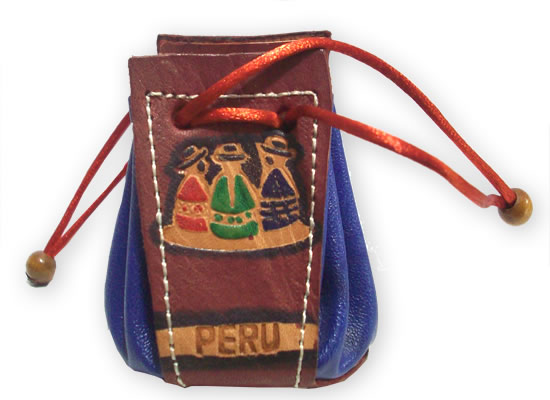 06 Peru Handmade Leather Coin Purses Carved Images