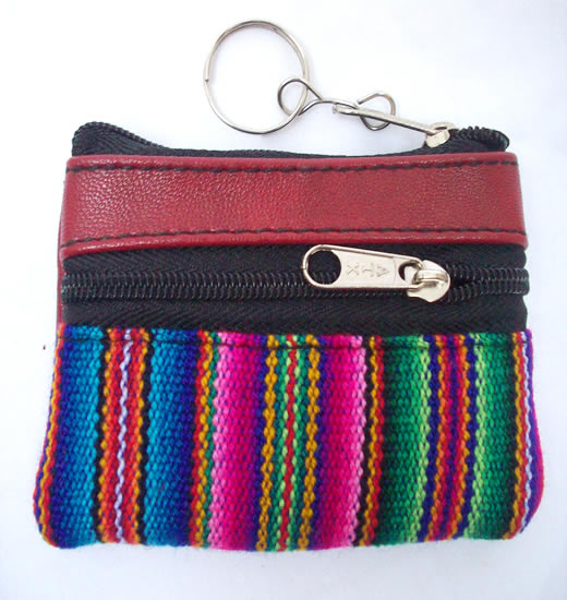 12 Peruvian Cusco Blanket Coin Purses Handmade Leather Colorful