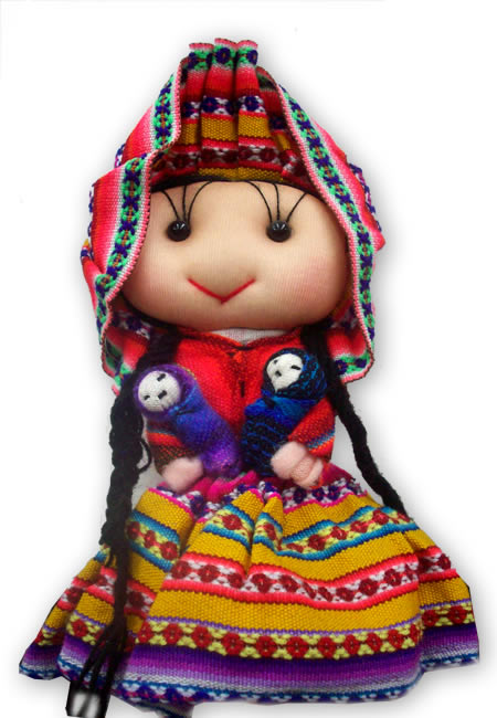 06 Nice Big Peruvian Andean Dolls Handmade Cusco Blanket Colorfu