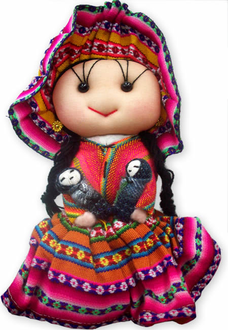 04 Peruvian Big Andean Dolls Handmade Cusco Blanket Colorful