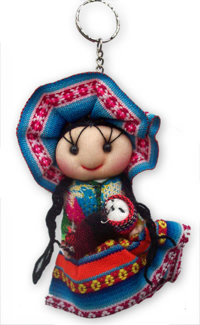 06 Pretty Peruvian Andean Dolls Key Rings Handmade Cusco Blanket