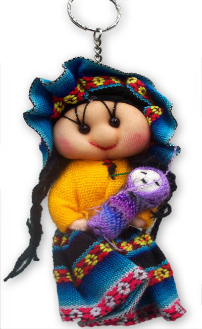 Lot 24 Peruvian Andean Dolls Key Rings Handmade Cusco Blanket