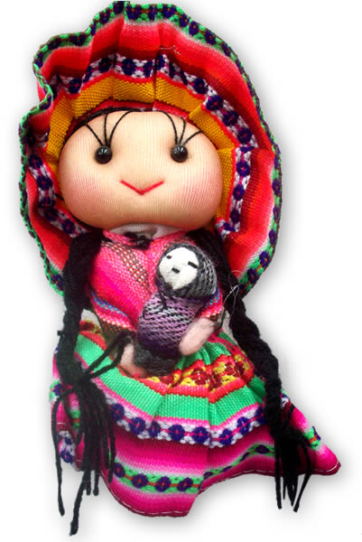 04 Medium Size Peruvian Andean Dolls Handmade Cusco Blanket