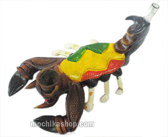12 Smoking Pipes Scorpion Image Rasta Color Handcrafted Duropox-Peru