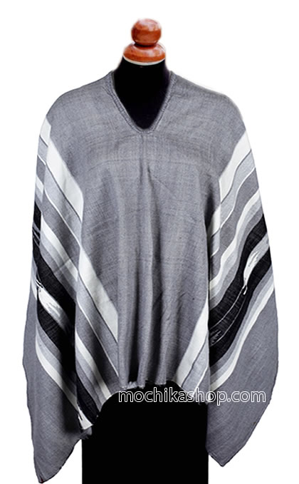 Nice Peru Poncho Handmade Alpaca Wool Striped Design Gray Color