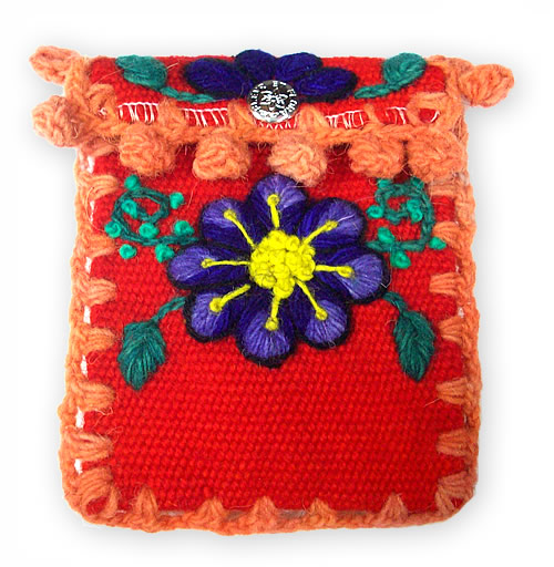 06 Peruvian Ayacucho Handmade Embroidered Woven Cell Phone Pouch
